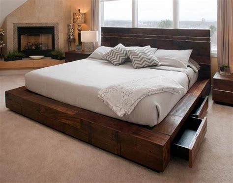 bed with drawers unique platform beds contemporary rustic reclaimed woods