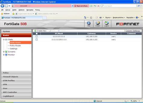 Router Fortinet fortigate 50b router nie pinguje elektroda pl