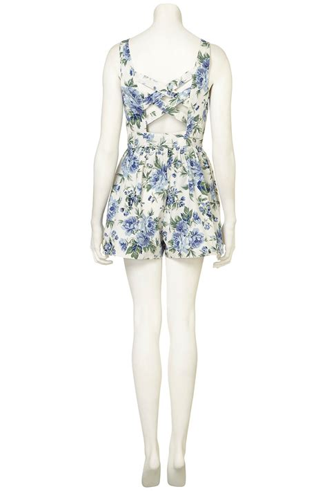 blue patterned playsuit lyst topshop floral playsuit in blue