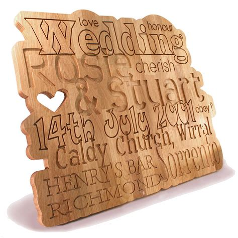 Wedding Anniversary Gifts Oak by Personalised Anniversary Wedding Oak Plaque By Cleancut