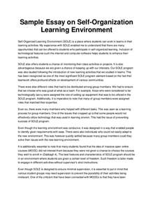 Essay About Environment by Sle Essay On Self Organization Learning Environment