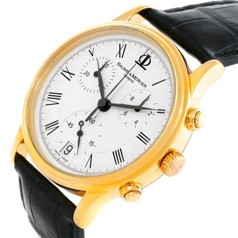 baume mercier classima mens 18k yellow gold chronograph