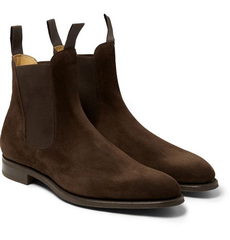 edward green newmarket suede chelsea boots in brown for