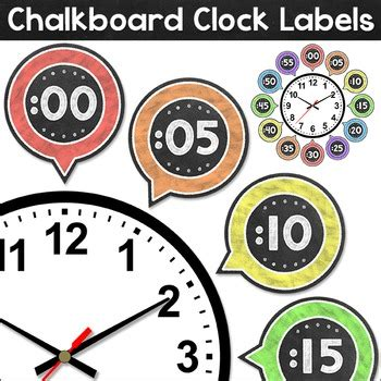 free printable clock labels chalkboard theme clock labels by pink cat studio tpt