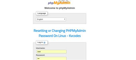 resetting linux password resetting or changing phpmyadmin password on linux kvcodes