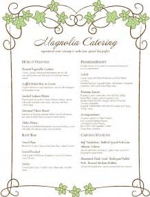 catering menu template pin catering menu templates free on