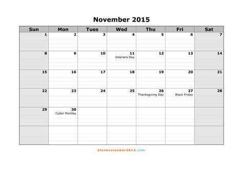 printable weekly calendar november 2015 7 best images of november 2015 calendar printable free