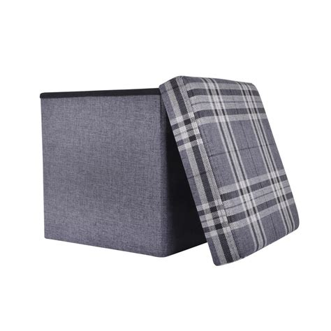 Foam Cube Ottoman Folding Check Pattern Storage Ottoman Cube With Foam Lid 15 Quot