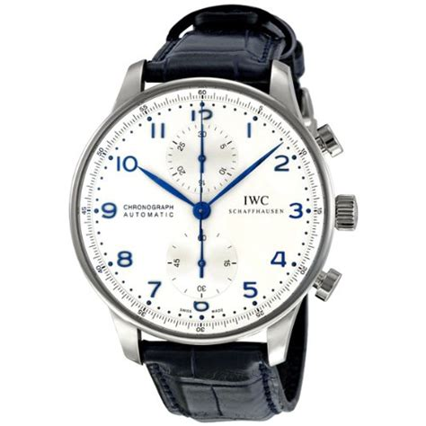 Iwc Portuguis Leather Silver White Matic iwc portuguese chronograph automatic mens iw371446