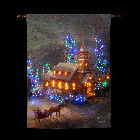 Illuminating Christmas Lights Sale On Thomas Kinkade Sunday Church Illuminated Hanging