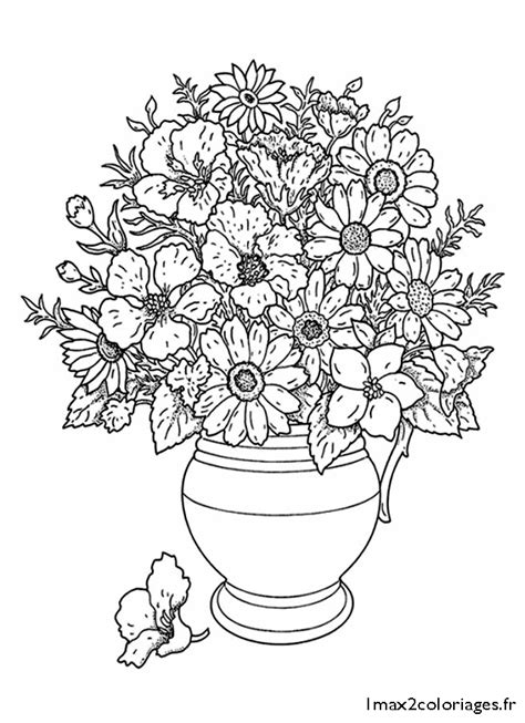 Flowers In Vase Coloring Pages Bouquet De Fleurs Coloriage Az Coloriage