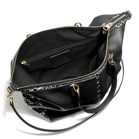 Coach Sulvian Emboss Black coach bleecker cooper satchel in two tone python embossed leather in black lyst