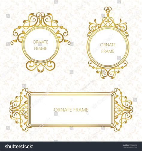 template place cards gold border vector set decorative frame gold stock vector