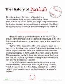 History Of Baseball Essay by History Of Baseball Worksheet Education