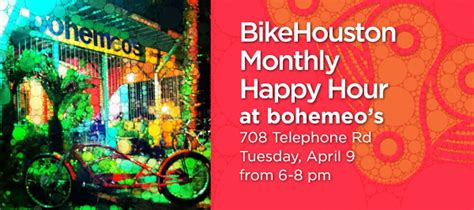 Happy Hour Deny Away April by 187 April 9 2013 Bikehouston Monthly Happy Hour At Bohemeo S