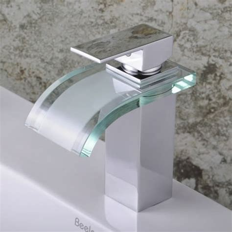 single handle chrome waterfall bathroom sink faucet f
