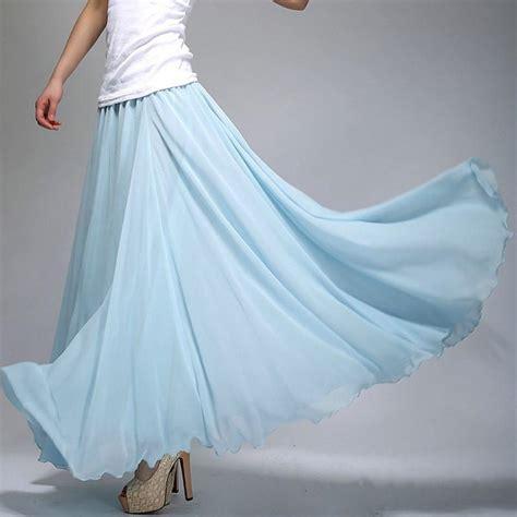 light blue chiffon skirt sky blue chiffon maxi skirt with wide hem