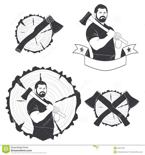 set of stylish logos lumberjack stock vector image 49274782