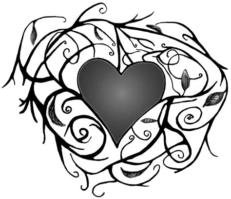 printable coloring pages hearts with vines heart with vines v grey by cpink1022 on deviantart
