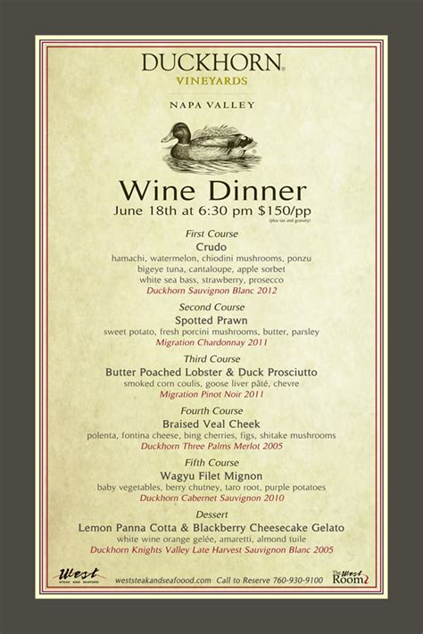 wine dinner menu template