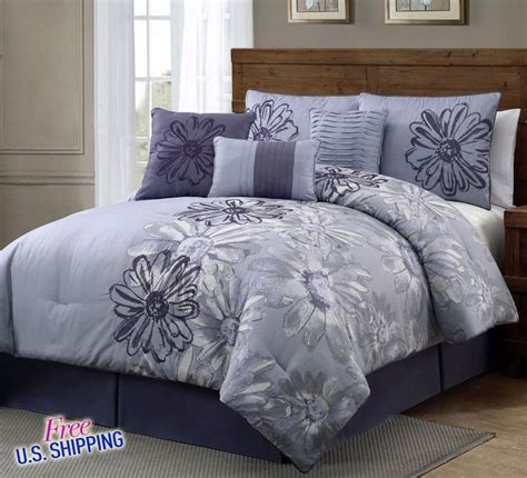 bed skirts and pillow shams 7 piece comforter set queen shams pillows bed skirt purple