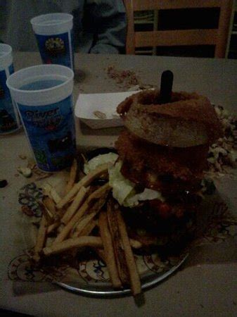 Kitchen Sink Burger Kitchen Sink Burger Better Be Hungry Picture Of River City Cafe Myrtle Tripadvisor