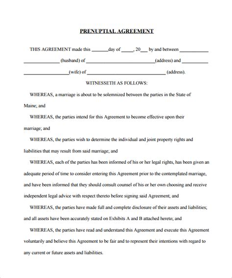 prenuptial agreement california template prenuptial agreement 8 documents in pdf