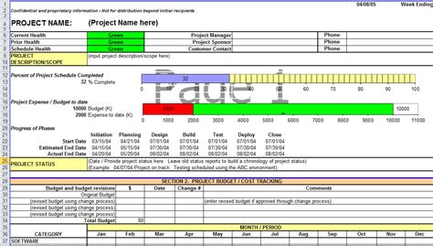 Monthly Project Status Report Template Excel