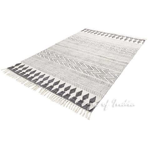 black and white flat weave rug white black cotton block print area accent flat weave woven dhurrie rug 4 x 6 ft dhurrie