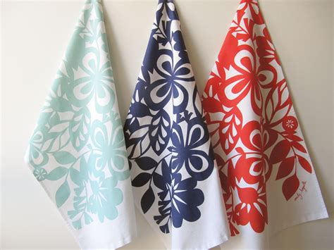 Printed Reds by Floral Screen Printed Tea Towels Tayberry Gallery By