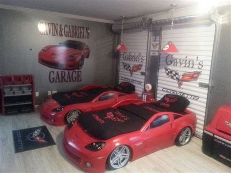 themed rooms corvettes and garage doors on