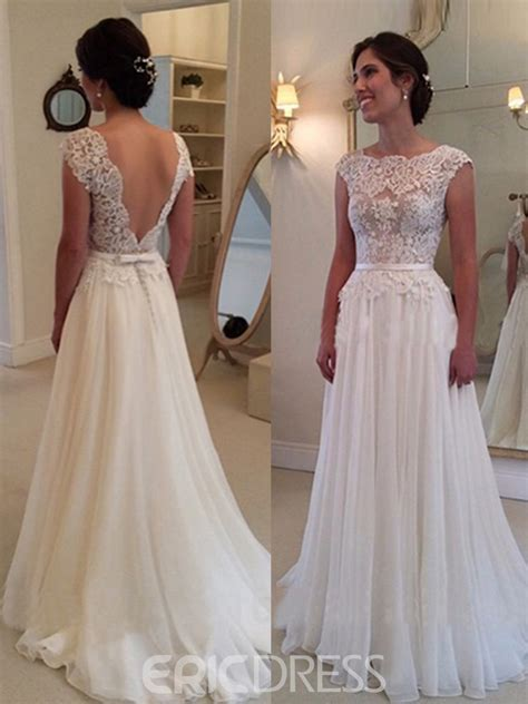 A Line Wedding Dresses by Ericdress Charming Backless Lace A Line Wedding