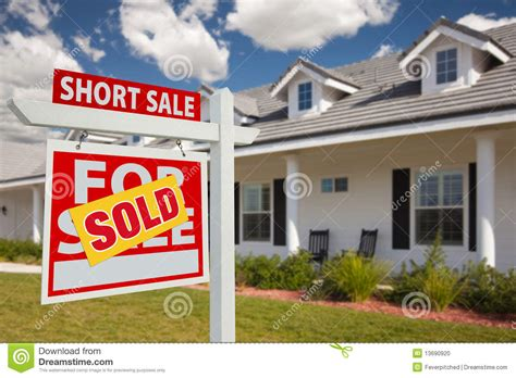 short sale house sold short sale real estate sign and house left stock photo image 13690920