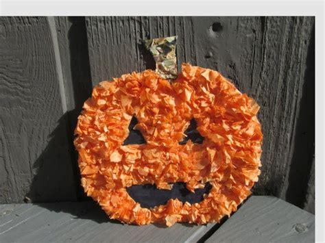 tissue paper pumpkin craft for