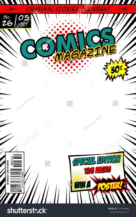 comic book cover template comic book cover vector template white stock vector