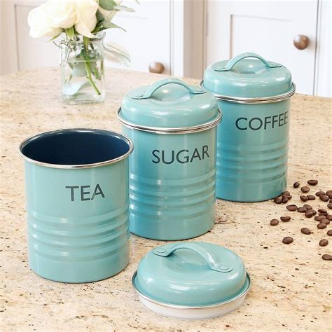 Colored Kitchen Canisters vintage blue tea coffee amp sugar canister set by dibor