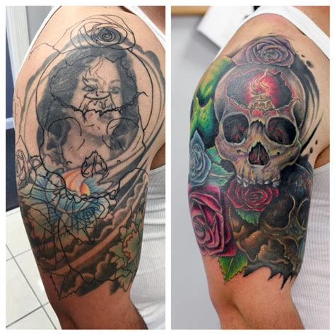 big tattoo cover up before and after skull cover up by caban