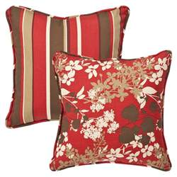 pillow outdoor brown floral stripe toss