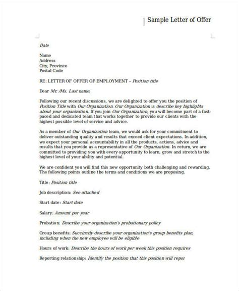 employment offer letter template free employment offer letter template 6 free word pdf
