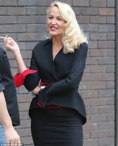 Red And Black Valance Jerry Hall Puffs On A Cigarette Outside Itv Studios While