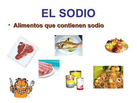 alimentos que contengan sodio el sodio