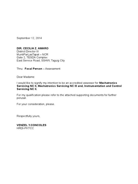 Accreditation Coordinator Cover Letter by Sle Letter Of Intent Applying For Accreditation Cover Letter