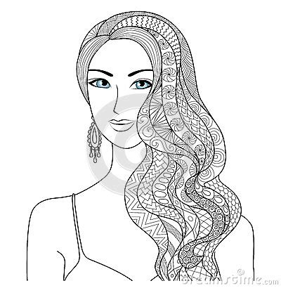 Hair Styles For Adults by Drawing Zentangle Hair Style For Coloring Book
