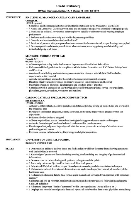 cardiac cath lab resume sles velvet