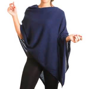 ladies knitted navy cashmere poncho to buy online