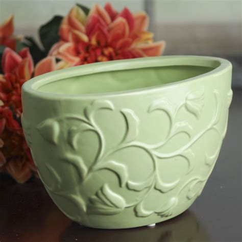 Ceramic Flower Pots Pistachio Green Ceramic Flower Pot Decorative Containers