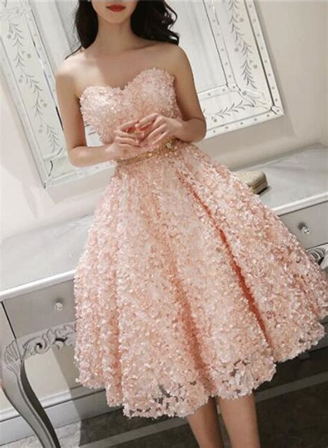 cute pink floral lace short sweetheart romantic party