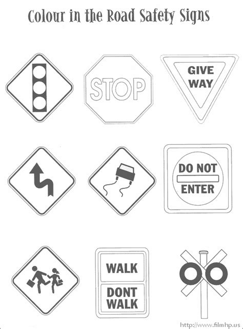 printable road signs worksheets traffic safety signs coloring pages riicky pinterest