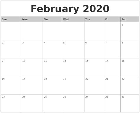 printable monthly calendar with pictures february 2020 monthly calendar printable