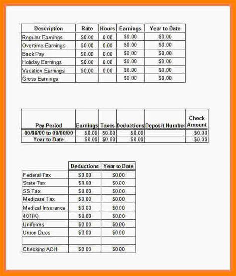 12 Pay Stub Template For Excel Pay Stub Format Truck Driver Pay Stub Template